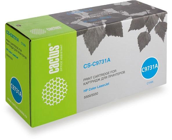 Лазерный картридж Cactus CS-C9731AR (HP 645A) голубой для HP Color LaserJet 5500, 5500DN, 5500DTN, 5500HDN, 5500TDN, 5500N, 5550, 5550DN, 5550DTN, 5550HDN, 5550N (12'000 стр.)