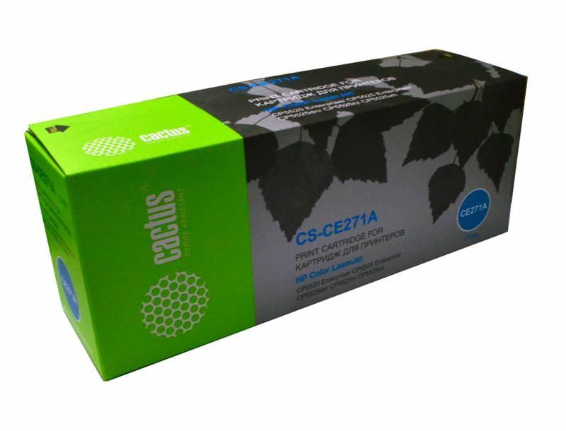 Лазерный картридж Cactus CS-CE271AR (HP 650A) голубой для HP Color LaserJet CP5520 Enterprise, CP5525 CP5525dn, CP5525xh, M750dn Enterprise D3L09A, M750n D3L08A, M750xh D3L10A (15'000 стр.)