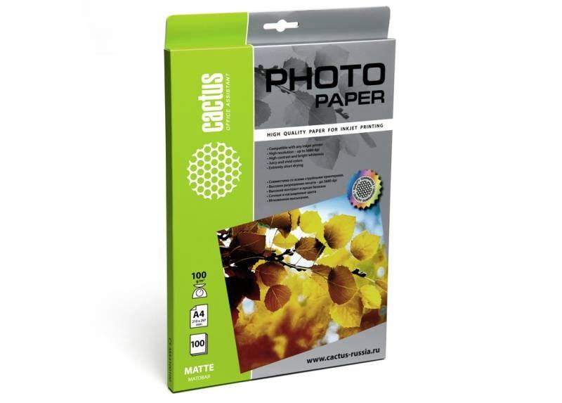 Фотобумага Cactus CS-MA4100100 A4, 100г/м2, 100л, белая матовая для струйной печати фото