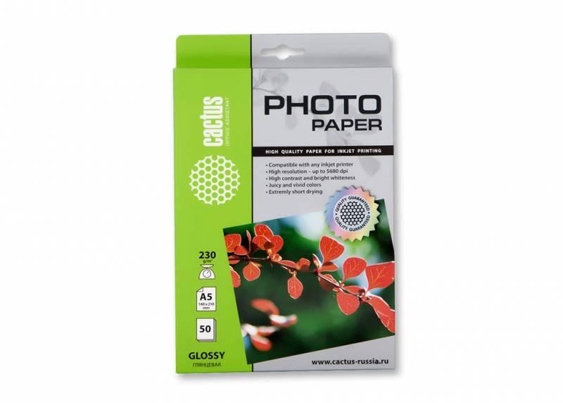 Фотобумага Cactus CS-GA523050 A5, 230г/м2, 50л., белый глянцевое для струйной печати