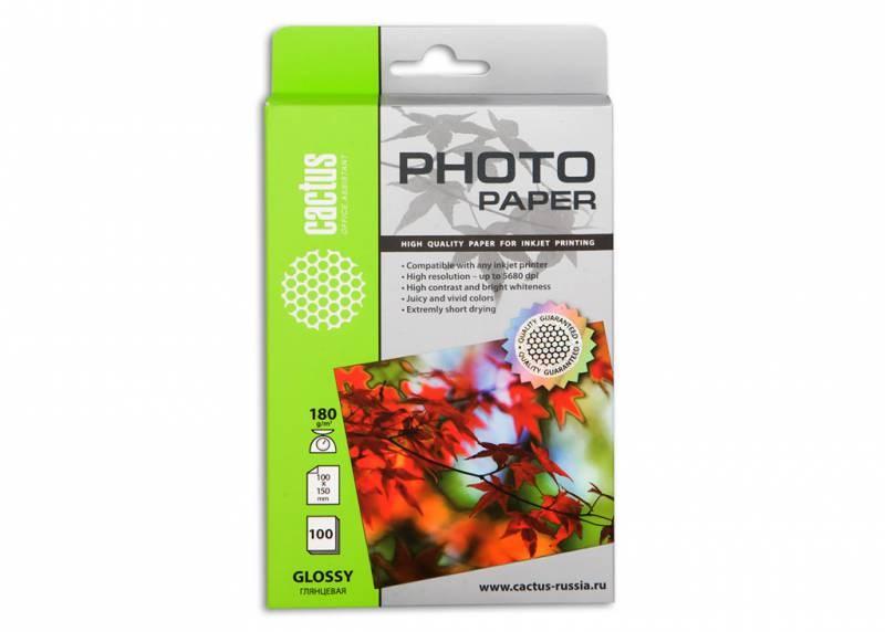 Фотобумага Cactus CS-GA6180100 10x15, 180г/м2, 100л., белый глянцевое для струйной печати