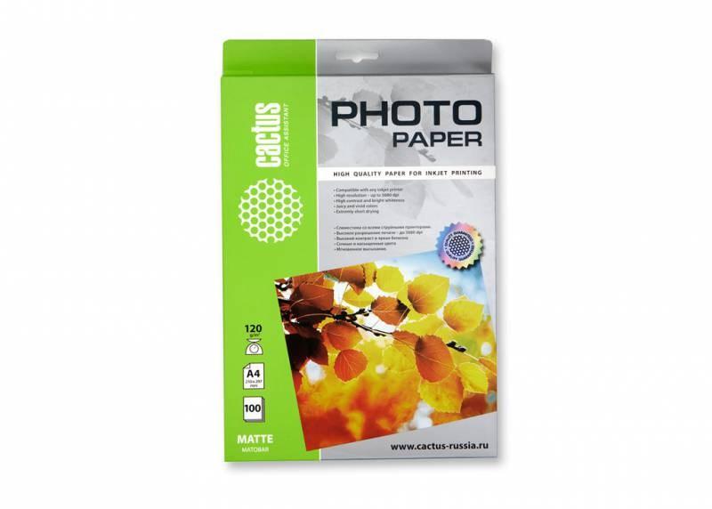 Фотобумага cactus cs-ma4120100 a4, 120г/м2, 100л., белый матовое для струйной печати