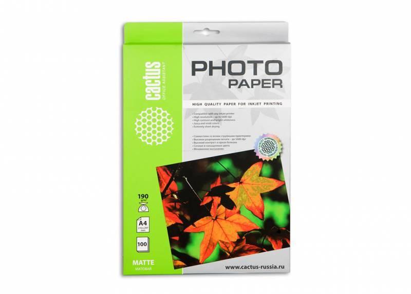 Фотобумага Cactus CS-MA4190100 A4, 190г/м2, 100л. матовое для струйной печати
