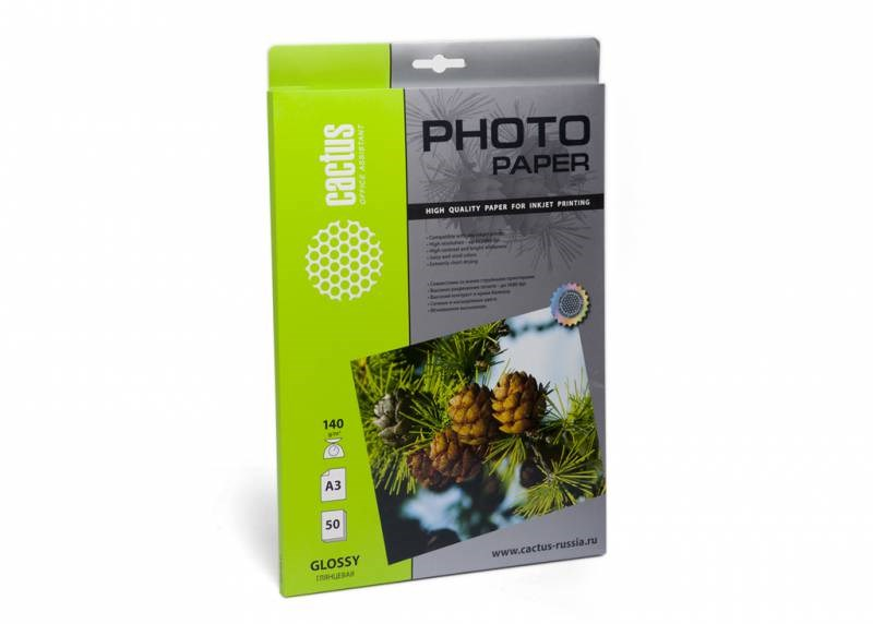 Фотобумага Cactus CS-GA314050 A3, 140г/м2, 50л., белый глянцевое для струйной печатиФотобумага<br><br>