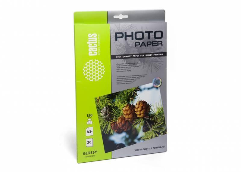 Фотобумага Cactus CS-GA315020 A3+, 150г/м2, 20л., белый глянцевое для струйной печати