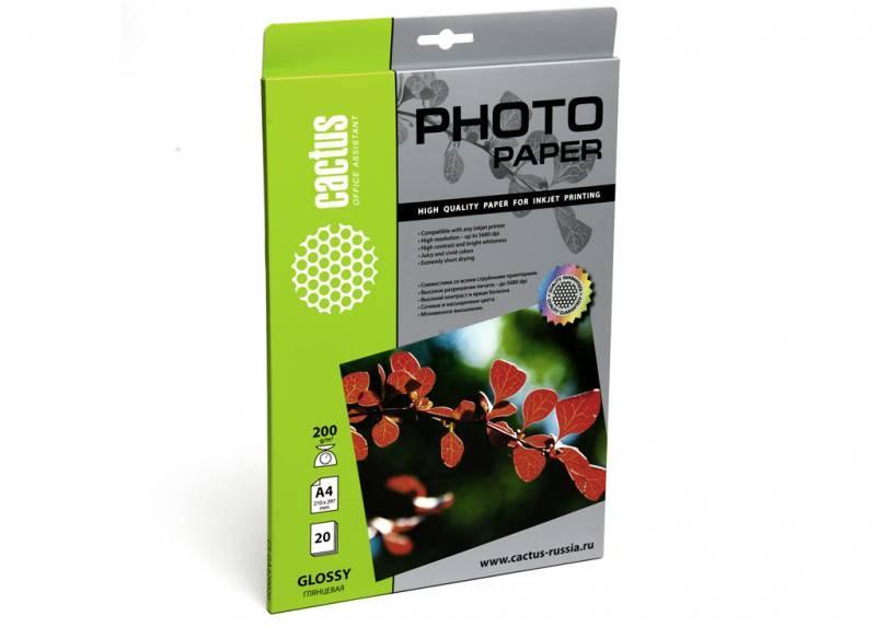 Фотобумага Cactus CS-GA420020 A4, 200г/м2, 20л., белый глянцевое для струйной печатиФотобумага<br>