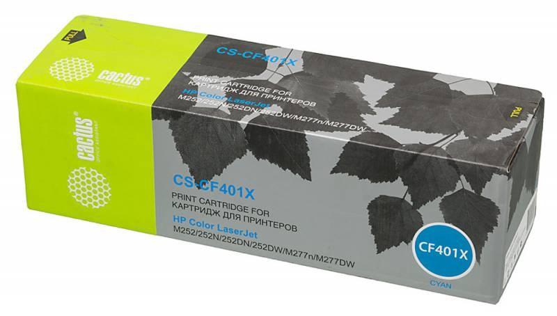 Лазерный картридж Cactus CS-CF401X (201X) голубой для для принтеров HP  Color LaserJet pro m252dw, pro m252n, pro m274n, pro mfp m277, pro mfp m277dw, pro mfp m277n, pro m252 (2300 стр.)Лазерные картриджи для HP<br>Лазерный картридж&amp;nbsp;Cactus CS-CF401X&amp;nbsp;(HP 201X)?. Он совместим с лазерным принтером HP Color LaserJet PRO M252DW, PRO M252N, PRO M274N,&amp;nbsp;PRO MFP M277, PRO MFP M277DW, PRO MFP M277N, PRO M252. Цвет - голубой. С помощью данного картриджа Вы сможете распечатать порядка 2300 страниц текста (при 5% заполнении листа).&amp;nbsp; Cactus CS-CF401X&amp;nbsp;создан по аналогии с картриджем Hewlett-Packard CF401X&amp;nbsp;(HP 201X), нисколько не уступает ему по качеству печати, но цена его значительно ниже. Это позволит Вам немного сэкономить, ничего при этом не потеряв. На тонер-картридж Cactus CS-CF401X&amp;nbsp;распространяется гарантия 1 год с момента приобретения.<br>