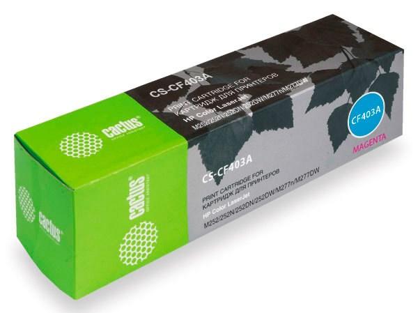 Лазерный картридж CACTUS CS-CF403A (HP 201A) пурпурный для принтеров HP  Color LaserJetPro M252, M252dw, M252n, M274n, MFP M277, MFP M277dw, MFP M277n (1400 стр.)Лазерные картриджи для HP<br>Лазерный картридж&amp;nbsp;Cactus CS-CF403A&amp;nbsp;(HP 201A)?. Он совместим с лазерным принтером HP Color LaserJet PRO M252, M252DW, M252N, M274N, MFP M277, MFP M277DW, MFP M277N. Цвет - пурпурный. С помощью данного картриджа Вы сможете распечатать порядка 1400 страниц текста (при 5% заполнении листа).&amp;nbsp; Cactus CS-CF403A&amp;nbsp;создан по аналогии с картриджем Hewlett-Packard CF403A&amp;nbsp;(HP 201A), нисколько не уступает ему по качеству печати, но цена его значительно ниже. Это позволит Вам немного сэкономить, ничего при этом не потеряв. На тонер-картридж Cactus CS-CF403A&amp;nbsp;распространяется гарантия 1 год с момента приобретения.<br>