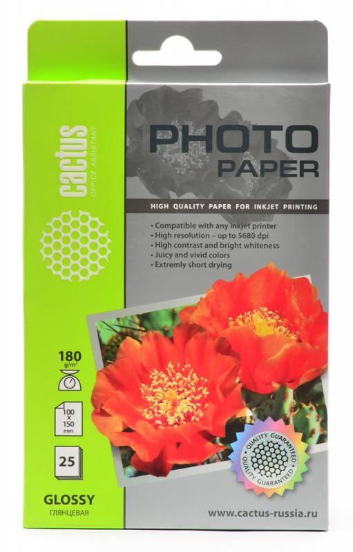 Фотобумага глянцевая Cactus CS-GA618025 10x15, 180г/м2, 25л.Фотобумага<br>Фотобумагаnbsp;Cactus CS-GA618025<br><br>Кол-во листов - 25<br><br>Поверхность ndash; глянцевая<br><br>Фотобумага CS-GA618025 представляет собой оптимальное сочетание цены и качества.