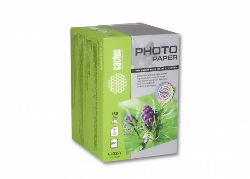 Фотобумага Cactus CS-GA6180500, 180г/м2, 500л., белый глянцевое для струйной печатиФотобумага<br><br>