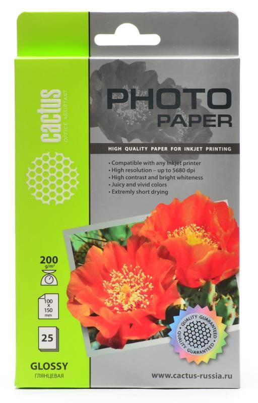 Фотобумага Cactus CS-GA620025 A6, 200г/м2, 25л., белый глянцевое для струйной печатиФотобумага<br><br>