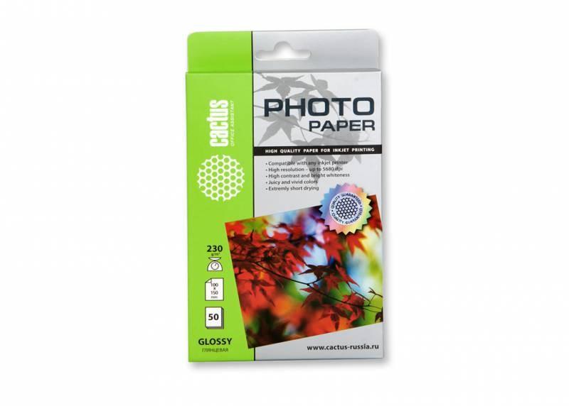 Фотобумага Cactus CS-GA623050 10x15, 230г/м2, 50л., белый глянцевое для струйной печатиФотобумага<br>