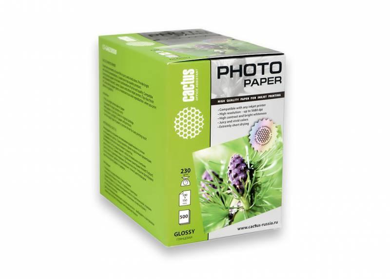 Фотобумага Cactus CS-GA6230500 10x15, 230г/м2, 500л., белый глянцевое для струйной печати