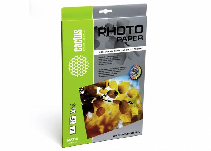 Фотобумага Cactus CS-MA410020 A4, 100г/м2, 20л., белый матовое для струйной печати