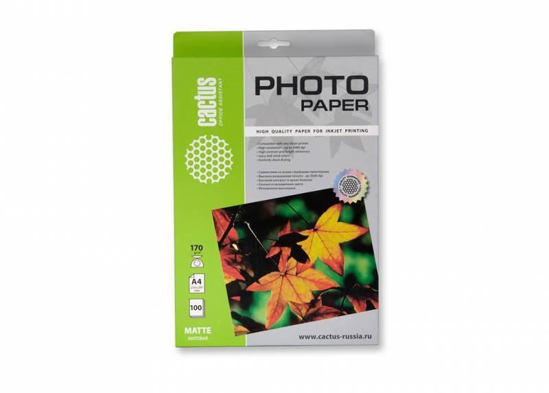 Фотобумага Cactus CS-MA4170100 A4, 170г/м2, 100л., белый матовое для струйной печатиФотобумага<br><br>