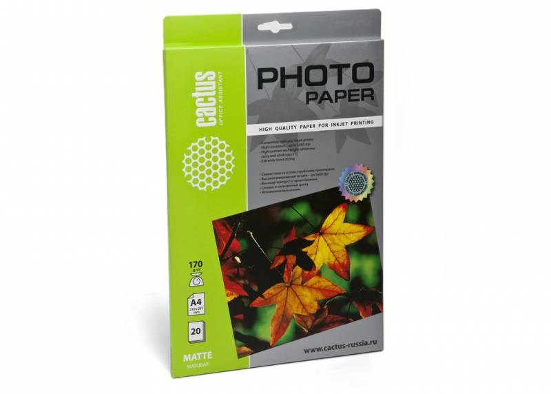 Фотобумага Cactus CS-MA417020 A4, 170г/м2, 20л., белый матовое для струйной печатиФотобумага<br><br>