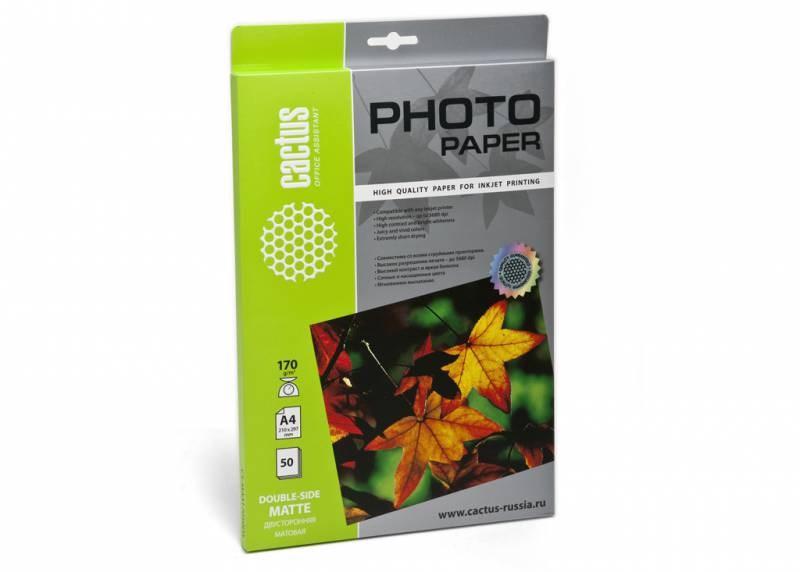 Фотобумага Cactus CS-MA417050DS A4, 170г/м2, 50л., белый матовое, матовое для струйной печатиФотобумага<br><br>