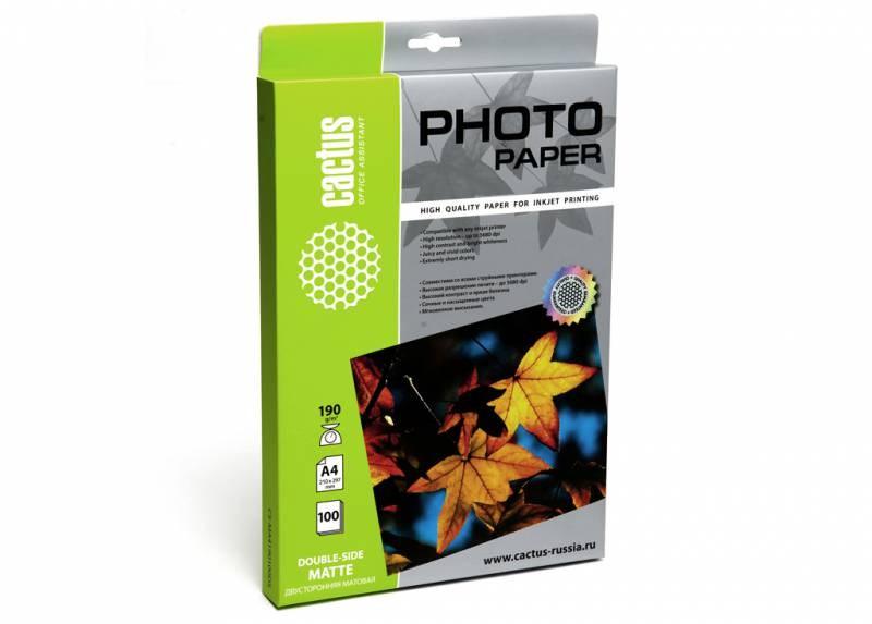 Фотобумага Cactus CS-MA4190100DS A4, 190г/м2, 100л., белый для струйной печатиФотобумага<br><br>