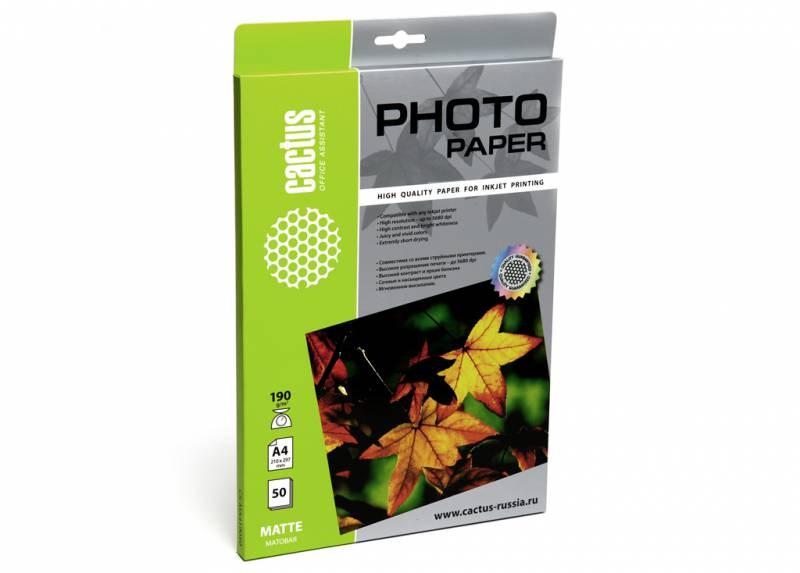Фотобумага Cactus CS-MA419050 A4, 190г/м2, 50л., белый матовое для струйной печатиФотобумага<br>