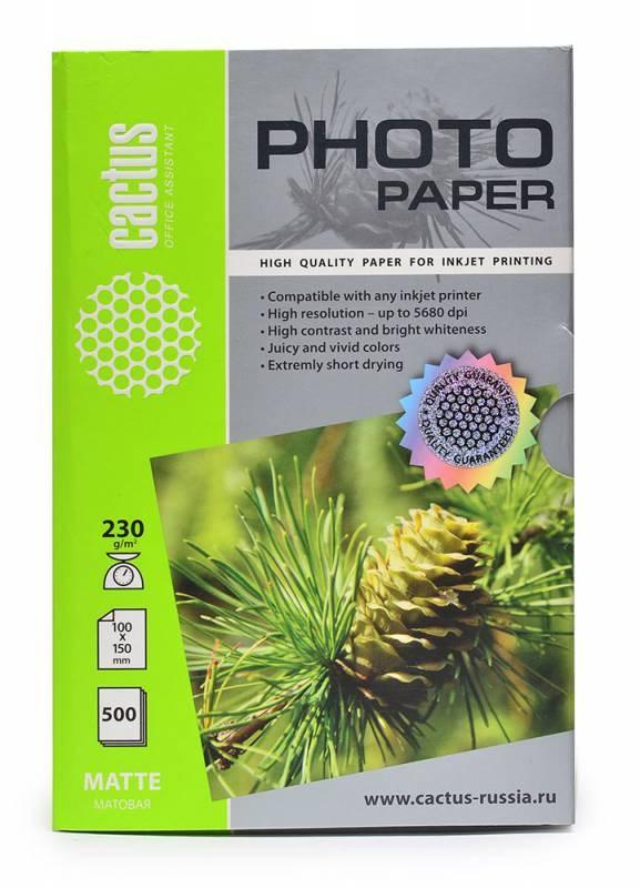 Фотобумага Cactus CS-MA6230500 10x15, 230г/м2, 500л., белый матовое для струйной печатиФотобумага<br><br>