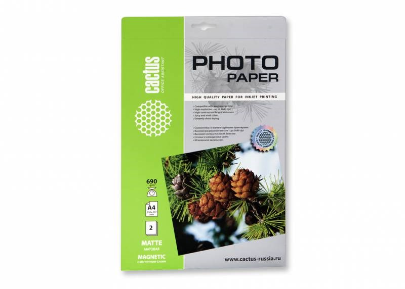 Магнитная фотобумага Cactus CS-MMA46902 A4, 690г/м2, 2л., матовая для струйной печати