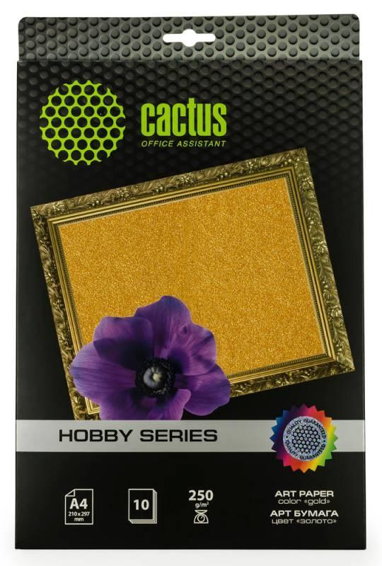 Фотобумага Cactus CS-DA425010G A4, 250г/м2, 10л., золото для струйной печати