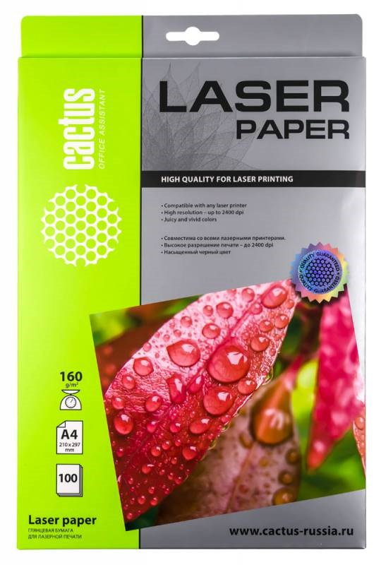 Фотобумага Cactus CS-LPA4160100 A4, 160г/м2, 100л., белый глянцевое для лазерной печатиФотобумага<br><br>