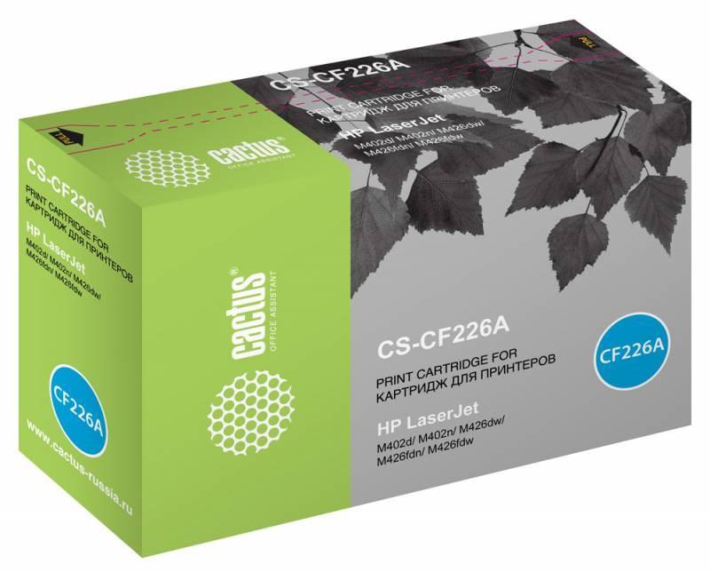 Лазерный картридж Cactus CS-CF226A (26A) черный для принтеров HP LaserJet M402d, M402dn, M402n, M426dw, M426fdn, M426fdw (3100 стр.)Лазерные картриджи для HP<br>Лазерный картридж&amp;nbsp;Cactus CS-CF226A&amp;nbsp;(HP 26A)?. Он совместим с лазерным принтером HP LaserJet M402D, M402DN, M402N, M426DW, M426FDN, M426FDW. Цвет - черный. С помощью данного картриджа Вы сможете распечатать порядка 3100 страниц текста (при 5% заполнении листа).&amp;nbsp; Cactus CS-CF226A&amp;nbsp;создан по аналогии с картриджем Hewlett-Packard CF226A&amp;nbsp;(HP 26A), нисколько не уступает ему по качеству печати, но цена его значительно ниже. Это позволит Вам немного сэкономить, ничего при этом не потеряв. На тонер-картридж Cactus CS-CF226A&amp;nbsp;распространяется гарантия 1 год с момента приобретения.<br>