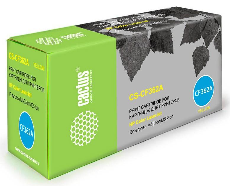 Лазерный картридж Cactus CS-CF362A (508A) желтый для принтеров HP  Color LaserJet M552dn Enrerprise, M553dn Enrerprise, M553N Enrerprise, M553x Enrerprise (5000стр.)Лазерные картриджи для HP<br>Лазерный картридж&amp;nbsp;Cactus CS-CF362A&amp;nbsp;(HP 508A)?. Он совместим с лазерным принтером HP Color&amp;nbsp;LaserJet M552DN ENRERPRISE, M553DN ENRERPRISE, M553N ENRERPRISE, M553X ENRERPRISE. Цвет - желтый. С помощью данного картриджа Вы сможете распечатать порядка 5000 страниц текста (при 5% заполнении листа).&amp;nbsp; Cactus CS-CF362A&amp;nbsp;создан по аналогии с картриджем Hewlett-Packard CF362A&amp;nbsp;(HP 508A), нисколько не уступает ему по качеству печати, но цена его значительно ниже. Это позволит Вам немного сэкономить, ничего при этом не потеряв. На тонер-картридж Cactus CS-CF362A&amp;nbsp;распространяется гарантия 1 год с момента приобретения.<br>