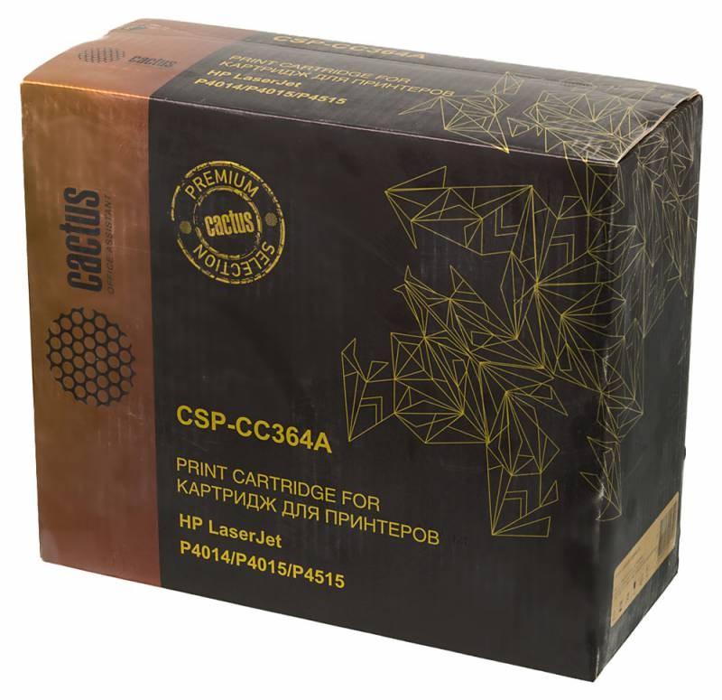 Лазерный картридж Cactus CSP-CC364A (HP 64A) черный для принтеров HP LaserJet P4010, P4014, P4014dn (CB512A), P4014n, P4015, P4015dn, P4015n, P4015tn, P4015x, P4510, P4515, P4515n, P4515tn, P4515x, P4515xm (15000 стр.)Лазерные картриджи Premium<br>Лазерный картридж&amp;nbsp;Cactus CSP-CC364A&amp;nbsp;(HP 64A)&amp;nbsp;полностью аналогичен картриджу Hewlett-Packard CC364A&amp;nbsp;(HP 64A). Его цвет - черный, а ресурс данной модели - порядка 15000 страниц (при 5% заполнении листа). Картридж Cactus CSP-CC364A&amp;nbsp;совместим с различными моделями лазерных принтеров HP LaserJet P4010, P4014, P4014dn (CB512A), P4014n, P4015, P4015dn, P4015n, P4015tn, P4015x, P4510, P4515, P4515n, P4515tn, P4515x, P4515xm. Срок гарантийного обслуживания, который предоставляет Cactus - 1 год. Вобрав в себя все лучшие качества оригинала, картридж Cactus CSP-CC364A&amp;nbsp;при этом стоит гораздо дешевле, что не может не радовать пользователей оргтехники, и особенно людей практичных, не привыкших бросать деньги на ветер.<br>