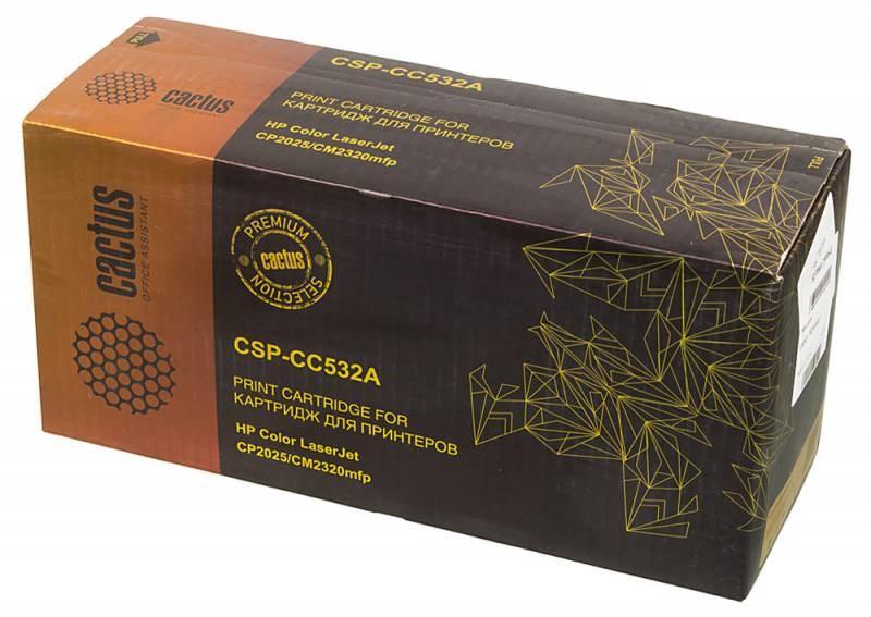 Лазерный картридж Cactus CSP-CC532A (HP 304A) желтый для принтеров HP  Color LaserJet CM2320 mfp, CM2320fxi (CC435A), CM2320n, CM2320nf (CC436A), CP2020 series, CP2025 (CB493A), CP2025dn (CB495A), CP2025n (CB494A), CP2025x (3500 стр.)