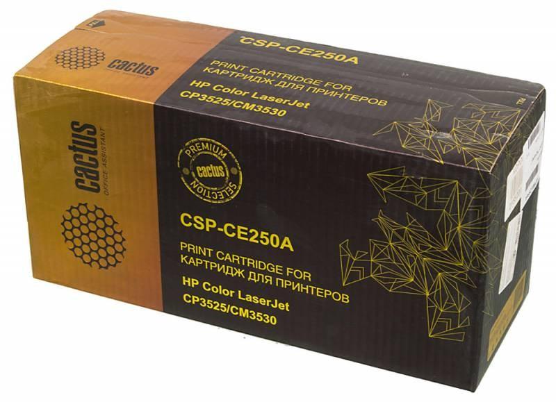 Лазерный картридж Cactus CSP-CE250A (HP 504A) черный для принтеров HP  Color LaserJet CM3530, CM3530fs MFP, CP3520, CP3525, CP3525dn, CP3525n, CP3525x (10500 стр.)Лазерные картриджи Premium<br>Лазерный картридж&amp;nbsp;Cactus CSP-CE250A&amp;nbsp;(HP 2504A)&amp;nbsp;полностью аналогичен картриджу Hewlett-Packard CE250A&amp;nbsp;(HP 504A). Его цвет - черный, а ресурс данной модели - порядка 10500 страниц (при 5% заполнении листа). Картридж Cactus CSP-CE250A&amp;nbsp;совместим с различными моделями лазерных принтеров HP  Color LaserJet CM3530, CM3530fs MFP, CP3520, CP3525, CP3525dn, CP3525n, CP3525x. Срок гарантийного обслуживания, который предоставляет Cactus - 1 год. Вобрав в себя все лучшие качества оригинала, картридж Cactus CSP-CE250A&amp;nbsp;при этом стоит гораздо дешевле, что не может не радовать пользователей оргтехники, и особенно людей практичных, не привыкших бросать деньги на ветер.<br>