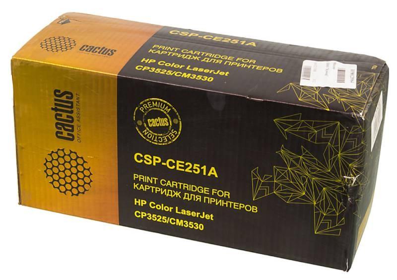 Лазерный картридж Cactus CSP-CE251A (HP 504A) голубой для принтеров HP  Color LaserJet CM3530, CM3530fs MFP, CP3520, CP3525, CP3525dn, CP3525n, CP3525x (10500 стр.)Лазерные картриджи Premium<br>Лазерный картридж&amp;nbsp;Cactus CSP-CE251A&amp;nbsp;(HP 2504A)&amp;nbsp;полностью аналогичен картриджу Hewlett-Packard CE251A&amp;nbsp;(HP 504A). Его цвет - голубой, а ресурс данной модели - порядка 10500 страниц (при 5% заполнении листа). Картридж Cactus CSP-CE251A&amp;nbsp;совместим с различными моделями лазерных принтеров HP  Color LaserJet CM3530, CM3530fs MFP, CP3520, CP3525, CP3525dn, CP3525n, CP3525x. Срок гарантийного обслуживания, который предоставляет Cactus - 1 год. Вобрав в себя все лучшие качества оригинала, картридж Cactus CSP-CE251A&amp;nbsp;при этом стоит гораздо дешевле, что не может не радовать пользователей оргтехники, и особенно людей практичных, не привыкших бросать деньги на ветер.<br>