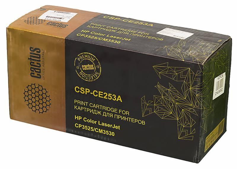 Лазерный картридж Cactus CSP-CE253A (HP 504A) пурпурный для принтеров HP  Color LaserJet CM3530, CM3530fs MFP, CP3520, CP3525, CP3525dn, CP3525n, CP3525x (10500 стр.)Лазерные картриджи Premium<br>Лазерный картридж&amp;nbsp;Cactus CSP-CE253A&amp;nbsp;(HP 2504A)&amp;nbsp;полностью аналогичен картриджу Hewlett-Packard CE253A&amp;nbsp;(HP 504A). Его цвет - пурпурный, а ресурс данной модели - порядка 10500 страниц (при 5% заполнении листа). Картридж Cactus CSP-CE253A&amp;nbsp;совместим с различными моделями лазерных принтеров HP  Color LaserJet CM3530, CM3530fs MFP, CP3520, CP3525, CP3525dn, CP3525n, CP3525x. Срок гарантийного обслуживания, который предоставляет Cactus - 1 год. Вобрав в себя все лучшие качества оригинала, картридж Cactus CSP-CE253A&amp;nbsp;при этом стоит гораздо дешевле, что не может не радовать пользователей оргтехники, и особенно людей практичных, не привыкших бросать деньги на ветер.<br>