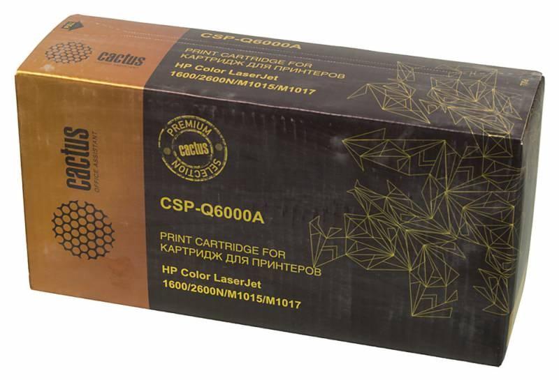 Лазерный картридж Cactus CSP-Q6000A (HP 124A) черный для принтеров HP  Color LaserJet 1600, 2600, 2600N, 2605, 2605DN, 2605DTN, CM1015, CM1015 MFP, CM1017, CM1017 MFP (3500 стр.)Лазерные картриджи Premium<br>Лазерный картридж&amp;nbsp;Cactus CSP-Q6000A&amp;nbsp;(HP 124A)&amp;nbsp;полностью аналогичен картриджу Hewlett-Packard Q6000A&amp;nbsp;(HP 124A). Его цвет - черный, а ресурс данной модели - порядка 3500 страниц (при 5% заполнении листа). Картридж Cactus CSP-Q6000A&amp;nbsp;совместим с различными моделями лазерных принтеров HP LaserJet 1600, 2600, 2600N, 2605, 2605DN, 2605DTN, CM1015, CM1015 MFP, CM1017, CM1017 MFP. Срок гарантийного обслуживания, который предоставляет Cactus - 1 год. Вобрав в себя все лучшие качества оригинала, картридж Cactus CSP-Q6000A&amp;nbsp;при этом стоит гораздо дешевле, что не может не радовать пользователей оргтехники, и особенно людей практичных, не привыкших бросать деньги на ветер.<br>