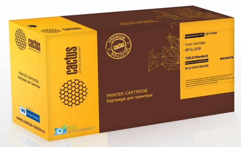 Лазерный картридж Cactus CSP-C9703X (HP 121A) пурпурный для принтеров HP  Color LaserJet 1500, 1500L, 1500Lxi, 1500N, 1500TN, 2500, 2500L, 2500LN, 2500Lse, 2500N, 2500TN (4000 стр.)Лазерные картриджи Premium<br>Лазерный картридж&amp;nbsp;Cactus CSP-C9703X&amp;nbsp;(HP 121A)&amp;nbsp;полностью аналогичен картриджу Hewlett-Packard C9703X&amp;nbsp;(HP 121A). Его цвет - пурпурный, а ресурс данной модели - порядка 4000 страниц (при 5% заполнении листа). Картридж Cactus CSP-C9703X&amp;nbsp;совместим с различными моделями лазерных принтеров HP  Color LaserJet 1500, 1500L, 1500LXI, 1500N, 1500TN, 2500, 2500L, 2500LN, 2500LSE, 2500N, 2500TN. Срок гарантийного обслуживания, который предоставляет Cactus - 1 год. Вобрав в себя все лучшие качества оригинала, картридж Cactus CSP-C9703X&amp;nbsp;при этом стоит гораздо дешевле, что не может не радовать пользователей оргтехники, и особенно людей практичных, не привыкших бросать деньги на ветер.<br>