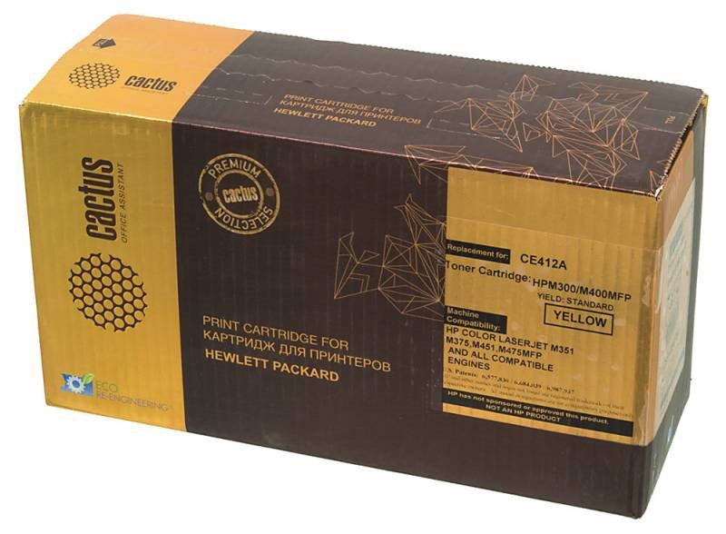 Лазерный картридж cactus csp-ce412a (hp 305a) желтый для принтеров hp color laserjet m351a pro, m375nw mfp pro, m451dn pro, m451dw pro, m451nw pro, m475dn mfp pro, m475dw mfp pro, m551n ent, m570dn, m570dw (2600 стр.)