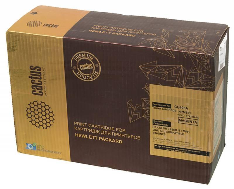 Лазерный картридж Cactus CSP-CE403A (HP 507A) пурпурный для принтеров HP  Color LaserJet M551 (Ent 500 color), M551dn Ent (CF082A), M551n Ent, M551xh Ent, M570 (Pro 500 color MFP), M570dn (Pro 500 colorMFP), M570dw (Pro 500 colorMFP) (6000 стр.)Лазерные картриджи Premium<br>Лазерный картридж&amp;nbsp;Cactus CSP-CE403A&amp;nbsp;(HP 507A)&amp;nbsp;полностью аналогичен картриджу Hewlett-Packard CE403A&amp;nbsp;(HP 507A). Его цвет - пурпурный, а ресурс данной модели - порядка 6000 страниц (при 5% заполнении листа). Картридж Cactus CSP-CE403A&amp;nbsp;совместим с различными моделями лазерных принтеров HP Color&amp;nbsp;LaserJet M551 (ENTERPRISE 500 COLOR), M551DN ENTERPRISE (CF082A), M551N ENTERPRISE, M551XH ENTERPRISE, M570 (PRO 500 COLOR MFP), M570DN (PRO 500 COLORMFP), M570DW (PRO 500 COLORMFP). Срок гарантийного обслуживания, который предоставляет Cactus - 1 год. Вобрав в себя все лучшие качества оригинала, картридж Cactus CSP-CE403A&amp;nbsp;при этом стоит гораздо дешевле, что не может не радовать пользователей оргтехники, и особенно людей практичных, не привыкших бросать деньги на ветер.<br>