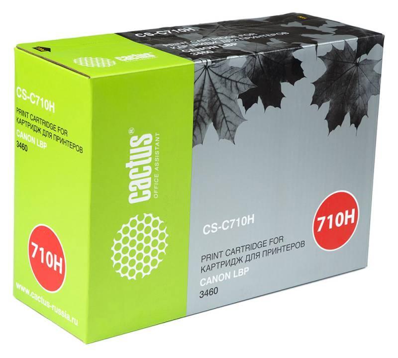 Лазерный картридж Cactus CS-C710H (0986B001) черный увеличенной емкости для Canon LBP 3460 i-Sensys Laser Shot (12000 стр.)Лазерные картриджи<br><br><br>Лазерный картридж Cactus CS-C710H<br><br>Предназначен для использования в принтерах Canon LBP 3460 i-Sensys Laser Shot<br><br>Страна производства - Китай<br><br>Цвет ndash; черный<br><br>Используя картридж Cactus CS-C710H у Вас будет возможность распечатать около 12#39;000 информационных страниц (при 5% заполнении).<br><br>Гарантия на картридж Cactus CS-C710H предоставляется производителем, сроком на 12 месяцев с момента приобретения.<br><br>