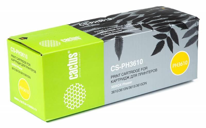 Лазерный картридж Cactus CS-PH3610 (106R02721) черный для принтеров Xerox Phaser 3610, 3610DN, 3610N, 3615, 3615DN, WorkCentre 3615, 3615DN (5900 стр.)Лазерные картриджи для Xerox<br>Лазерный тонер картридж Cactus CS-PH3610 (106R02721) создан для использования в принтерах Xerox Phaser 3610, 3610DN, 3610N, 3615, 3615DN, WorkCentre 3615, 3615DN<br>&amp;nbsp;<br><br>Ресурс картриджа 5900 страниц<br>&amp;nbsp;<br><br>Гарантия 12 месяцев<br>