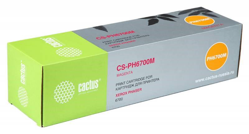 Лазерный картридж Cactus CS-PH6700M (106R01524) пурпурный для принтеров Xerox Phaser 6700, 6700DN, 6700N (12000 стр.)Лазерные картриджи для Xerox<br>Лазерный тонер картридж Cactus CS-PH6700M (106R01524) создан для использования в принтерах Xerox Phaser 6700, 6700DN, 6700N<br>&amp;nbsp;<br><br>Ресурс картриджа 12000 страниц<br>&amp;nbsp;<br><br>Гарантия 12 месяцев<br>