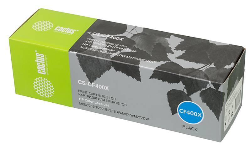 Лазерный картридж CACTUS CS-CF400X (HP 201X) черный для для принтеров HP  Color LaserJet pro m252dw, pro m252n, pro m274n, pro mfp m277, pro mfp m277dw, pro mfp m277n, pro m252 (2800 стр.)Лазерные картриджи для HP<br>Лазерный картридж&amp;nbsp;Cactus CS-CF400X&amp;nbsp;(HP 201X)?. Он совместим с лазерным принтером HP  Color LaserJet PRO M252DW, PRO M252N, PRO M274N, PRO MFP M277, PRO MFP M277DW, PRO MFP M277N, PRO M252. Цвет - черный. С помощью данного картриджа Вы сможете распечатать порядка 2800 страниц текста (при 5% заполнении листа).&amp;nbsp; Cactus CS-CF400X&amp;nbsp;создан по аналогии с картриджем Hewlett-Packard CF400X&amp;nbsp;(HP 201X), нисколько не уступает ему по качеству печати, но цена его значительно ниже. Это позволит Вам немного сэкономить, ничего при этом не потеряв. На тонер-картридж Cactus CS-CF400X&amp;nbsp;распространяется гарантия 1 год с момента приобретения.<br>
