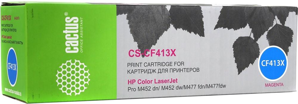 Лазерный картридж Cactus CS-CF413X (410X) пурпурный для принтеров HP  Color LaserJet M377 MFP Pro, M377dw MFP Pro, M452 Pro, M452dn Pro, M452nw Pro, M477 (Pro 400 color MFP), M477fdn MFP Pro, M477fdw MFP Pro, M477fnw MFP Pro (5000 стр.)Лазерные картриджи для HP<br>Лазерный картридж&amp;nbsp;Cactus CS-CF413X&amp;nbsp;(HP 410X)?. Он совместим с лазерным принтером HP Color LaserJet M377 MFP Pro, M377dw MFP Pro (M5H23A), M452 Pro, M452dn Pro (CF389A), M452nw Pro (CF388A), M477 (Pro 400 color MFP), M477fdn MFP Pro (CF378A), M477fdw MFP Pro (CF379A), M477fnw MFP Pro (CF377A). Цвет - пурпурный. С помощью данного картриджа Вы сможете распечатать порядка 6500 страниц текста (при 5% заполнении листа).&amp;nbsp; Cactus CS-CF413X&amp;nbsp;создан по аналогии с картриджем Hewlett-Packard CF413X&amp;nbsp;(HP 410X), нисколько не уступает ему по качеству печати, но цена его значительно ниже. Это позволит Вам немного сэкономить, ничего при этом не потеряв. На тонер-картридж Cactus CS-CF413X&amp;nbsp;распространяется гарантия 1 год с момента приобретения.<br>
