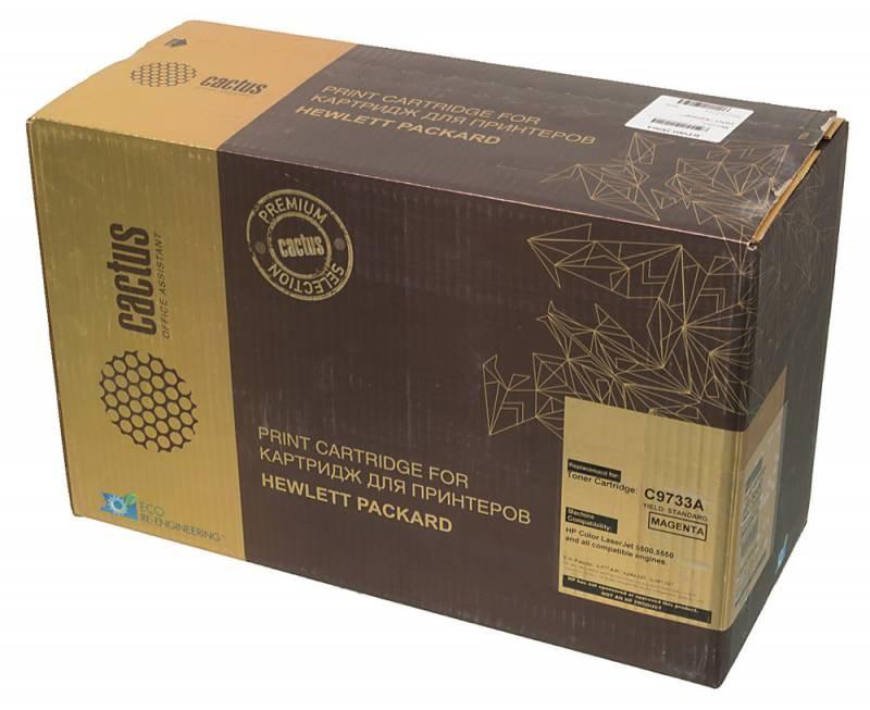 Лазерный картридж Cactus CSP-C9733A (HP 645A) пурпурный для принтеров HP  Color LaserJet 5500, 5500DN, 5500DTN, 5500HDN, 5500TDN, 5500N, 5550, 5550DN, 5550DTN, 5550HDN, 5550N (12000 стр.)Лазерные картриджи Premium<br>Лазерный картридж&amp;nbsp;Cactus CSP-C9733A&amp;nbsp;(HP 645A)&amp;nbsp;полностью аналогичен картриджу Hewlett-Packard CSP-C9733A&amp;nbsp;(HP 645A). Его цвет - пурпурный, а ресурс данной модели - порядка 12000 страниц (при 5% заполнении листа). Картридж Cactus CSP-C9733A&amp;nbsp;совместим с различными моделями лазерных принтеров HP LaserJet 5500, 5500DN, 5500DTN, 5500HDN, 5500TDN, 5500N, 5550, 5550DN, 5550DTN, 5550HDN, 5550N. Срок гарантийного обслуживания, который предоставляет Cactus - 1 год. Вобрав в себя все лучшие качества оригинала, картридж Cactus CSP-C9733A&amp;nbsp;при этом стоит гораздо дешевле, что не может не радовать пользователей оргтехники, и особенно людей практичных, не привыкших бросать деньги на ветер.<br>
