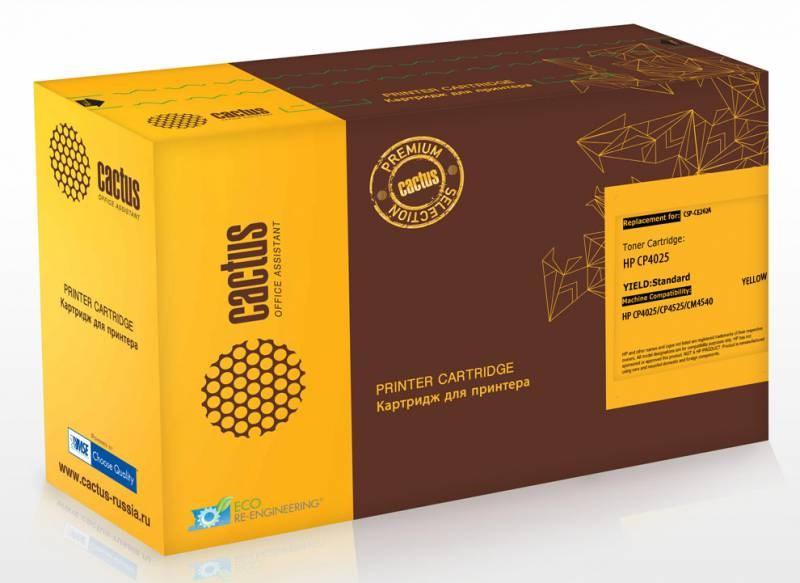 Лазерный картридж Cactus CSP-CE262A (HP 648A) желтый для принтеров HP  Color LaserJet CP4020 ENT, CP4025 CP4025DN, CP4025N, CP4520 CP4525 CP4525DN, CP4525N, CP4525XH (11000 СТР.)