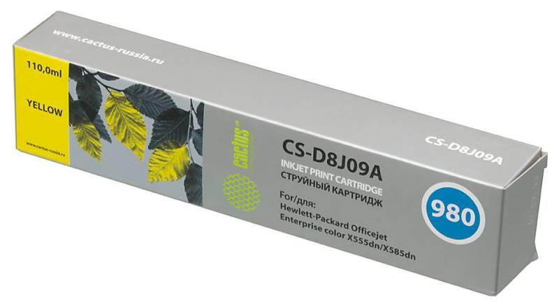 Струйный картридж cactus cs-d8j09a (hp 980) желтый для hp officejet x555dn enterprise color (c2s11a), x555xh enterprise color (c2s12a), x585dn enterprise color (b5l04a), x585f enterprise color (b5l05a), x585z enterprise color (b5l06a) (110 мл.)
