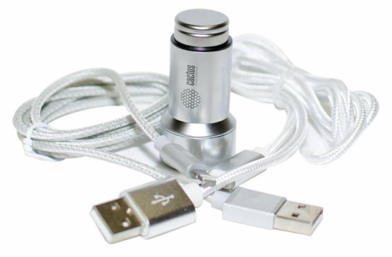 Автомобильное зар., устр. Cactus CS-ACCP33 1A+2.1A универсальное кабель Apple Lightning, microUSB серебристыйКабели и зарядные устройства<br><br>