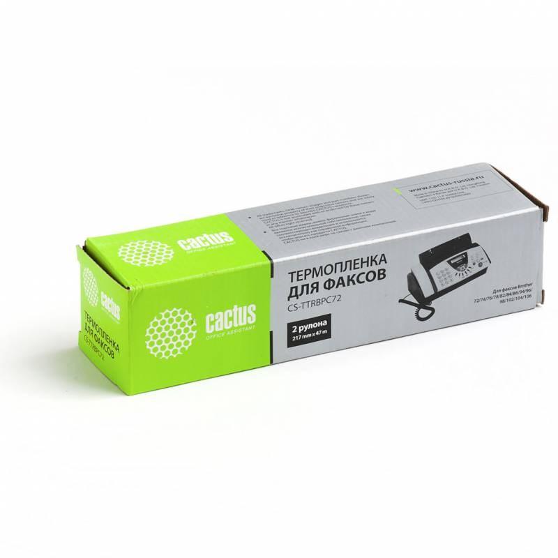 Термопленка Cactus CS-TTRBPC72 (PC-72RF) черный для принтеров FAX-T72, FAX-T74, FAX-T76, FAX-T78, FAX-T82, FAX-T84, FAX-T86, FAX-T92, FAX-T94, FAX-T96, FAX-T98, FAX-T102, FAX-T104 (2 x 150 стр.)Термопленка<br>Термопленка Cactus CS-TTRBPC72 (PC-72RF) предназначена для использования в принтерах Brother FAX-T72, FAX-T74, FAX-T76, FAX-T78, FAX-T82, FAX-T84, FAX-T86, FAX-T92, FAX-T94, FAX-T96, FAX-T98, FAX-T102, FAX-T104<br>&amp;nbsp;<br><br>Ресурс 2 x 150 стр.<br>&amp;nbsp;<br><br>Гарантия 12 месяцев<br>