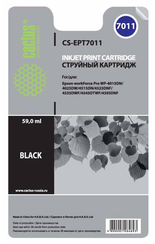 Струйный картридж Cactus CS-EPT7011 (C13T70114010) черный для принтеров Epson WorkForce Pro WF-4015, WF-4020, WF-4025, WF-4095, WF-4515, WF-4525, WF-4535, WF-4545, WF-4595 (3400 стр.)