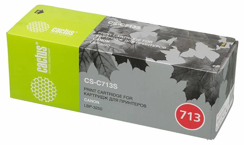 Лазерный картридж Cactus CS-C713 (№713) черный для принтеров Canon LBP 3250 i-SENSyS (2000стр.)Лазерные картриджи<br>Лазерный картридж&amp;nbsp;Cactus CS-C713&amp;nbsp;(№713). Он совместим с лазерными принтерами&amp;nbsp;Canon LBP 3250 i-SENSyS.&amp;nbsp;Цвет - черный. С помощью данного картриджа Вы сможете распечатать порядка 2000 страниц текста (при 5% заполнении листа).&amp;nbsp; Cactus CS-C713 создан по аналогии скартриджем Canon&amp;nbsp;C713&amp;nbsp;(№713), нисколько не уступает ему по качеству печати, но цена его значительно ниже. Это позволит Вам немного сэкономить, ничего при этом не потеряв. На тонер-картридж Cactus CS-C713 распространяется гарантия 1 год с момента приобретения.<br>